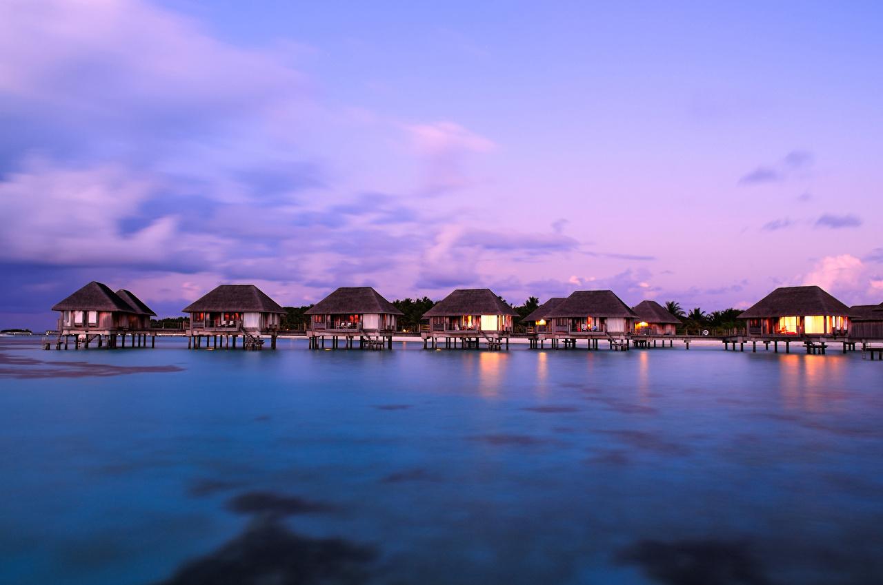 Обои Мальдивы Бунгало Природа Тропики