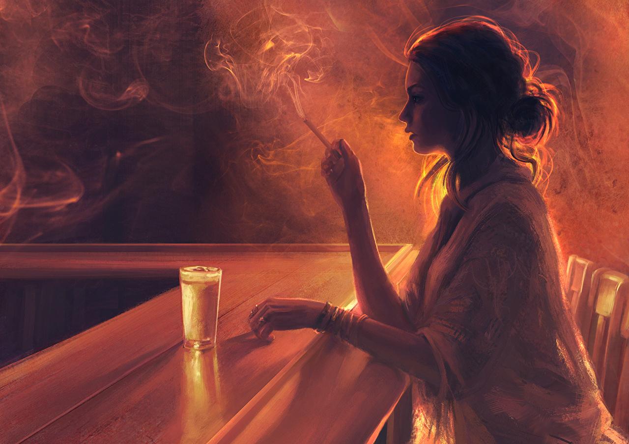 Картинка Шатенка Бар сигаретой девушка Стакан дымит Рисованные шатенки Сигарета сигареты Девушки молодые женщины молодая женщина стакана стакане Дым