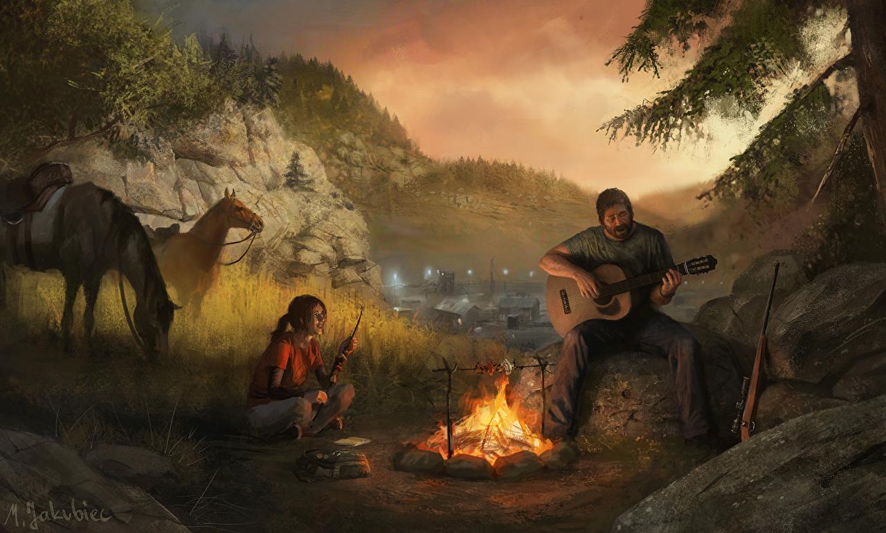 Фотографии The Last of Us Лошади Гитара Мужчины Девушки Природа Игры Огонь лошадь гитары мужчина с гитарой девушка молодая женщина молодые женщины пламя компьютерная игра