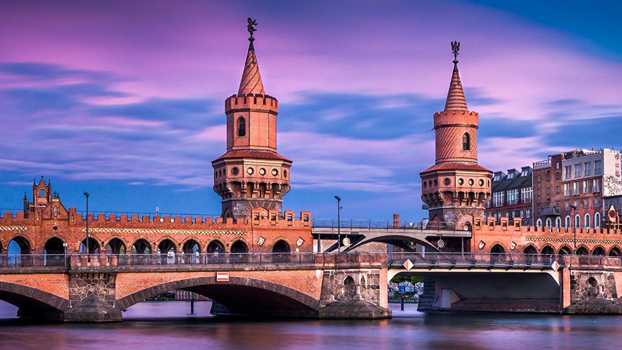 Фотография Берлин Германия Мосты Реки Вечер Города речка