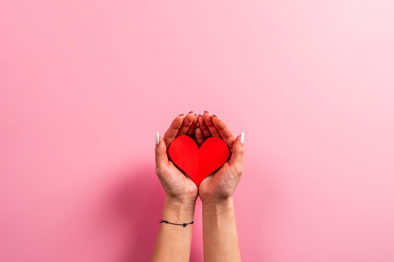 Фото День святого Валентина Маникюр сердца Руки Цветной фон День всех влюблённых маникюра серце Сердце сердечко рука