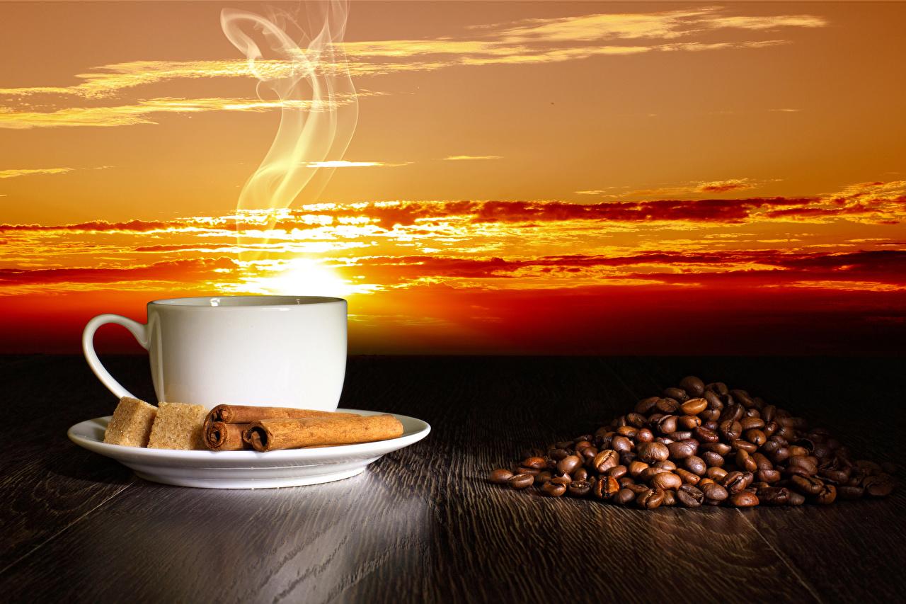 Картинка Кофе Сахар Зерна Корица Пар Чашка Продукты питания сахара зерно Еда Пища пары паром чашке