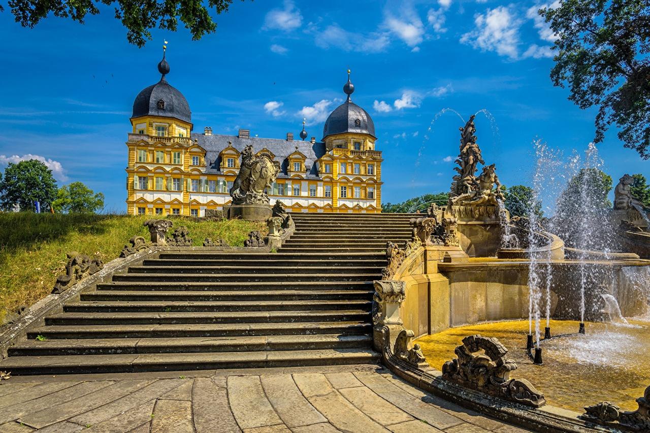 Фото Дворец Германия Фонтаны Memmelsdorf Seehof Palace Лестница Города дворца лестницы город