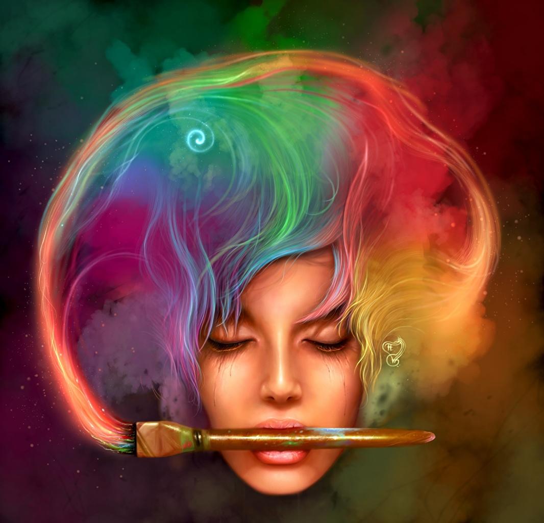 Картинка Разноцветные лица Волосы Фантастика Кисточки Лицо волос Фэнтези Кисть