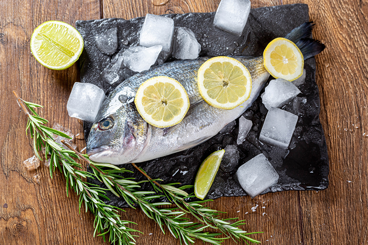Фотография льда Рыба Лимоны Пища Лед Еда Продукты питания