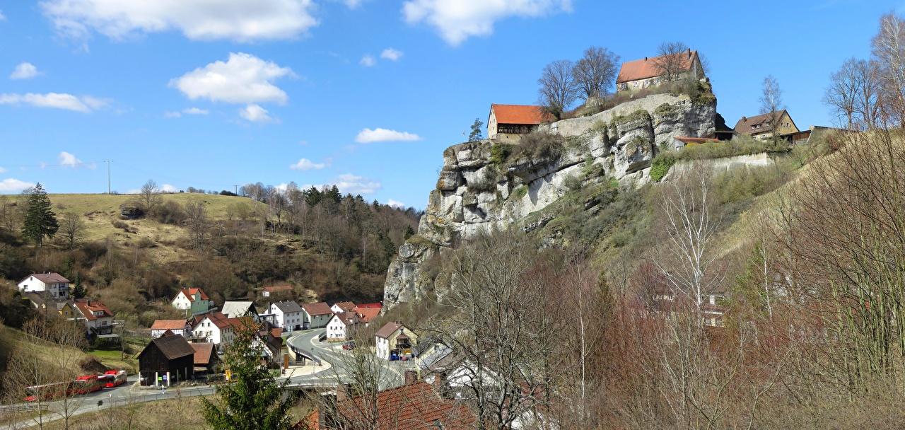 Фотографии Бавария Германия Burgberg Утес город Здания скалы скале Скала Дома Города
