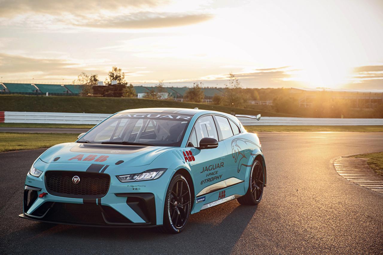 Фотография Ягуар Стайлинг 2018-19 VIP Car Jaguar I-Pace eTrophy Голубой авто Тюнинг голубых голубые голубая машина машины автомобиль Автомобили