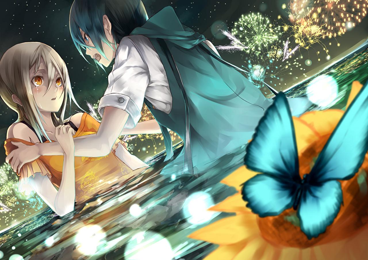Фотография бабочка парень Двое Аниме Девушки Пруд Бабочки юноша Парни подросток 2 два две вдвоем девушка молодая женщина молодые женщины