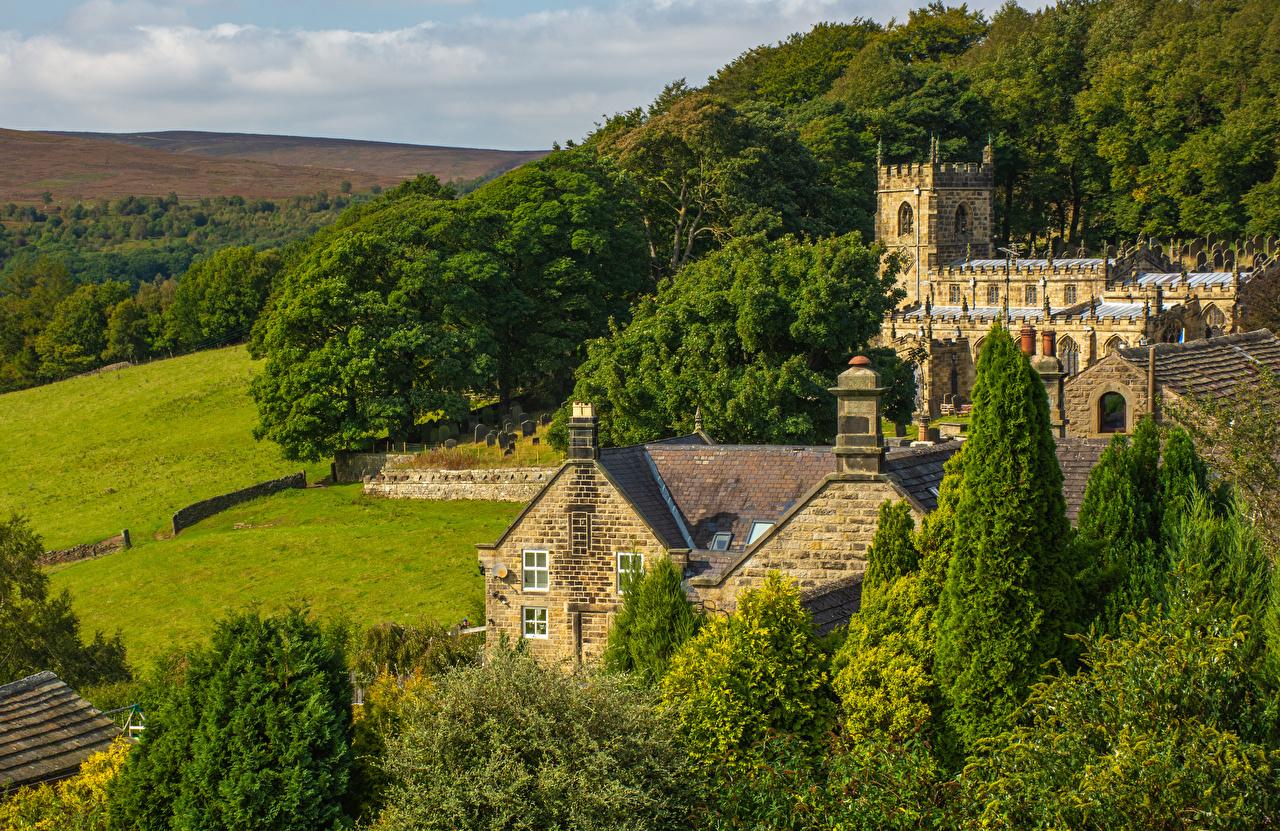 Фотография Церковь Англия Башня Деревня High Bradfield город деревьев башни село поселок дерево дерева Города Деревья