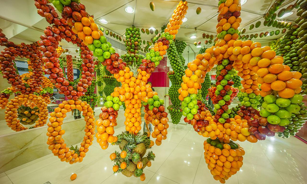 Фотография Манго Мандарины Яблоки Гранат Ананасы Пища Фрукты Дизайн Еда Продукты питания дизайна