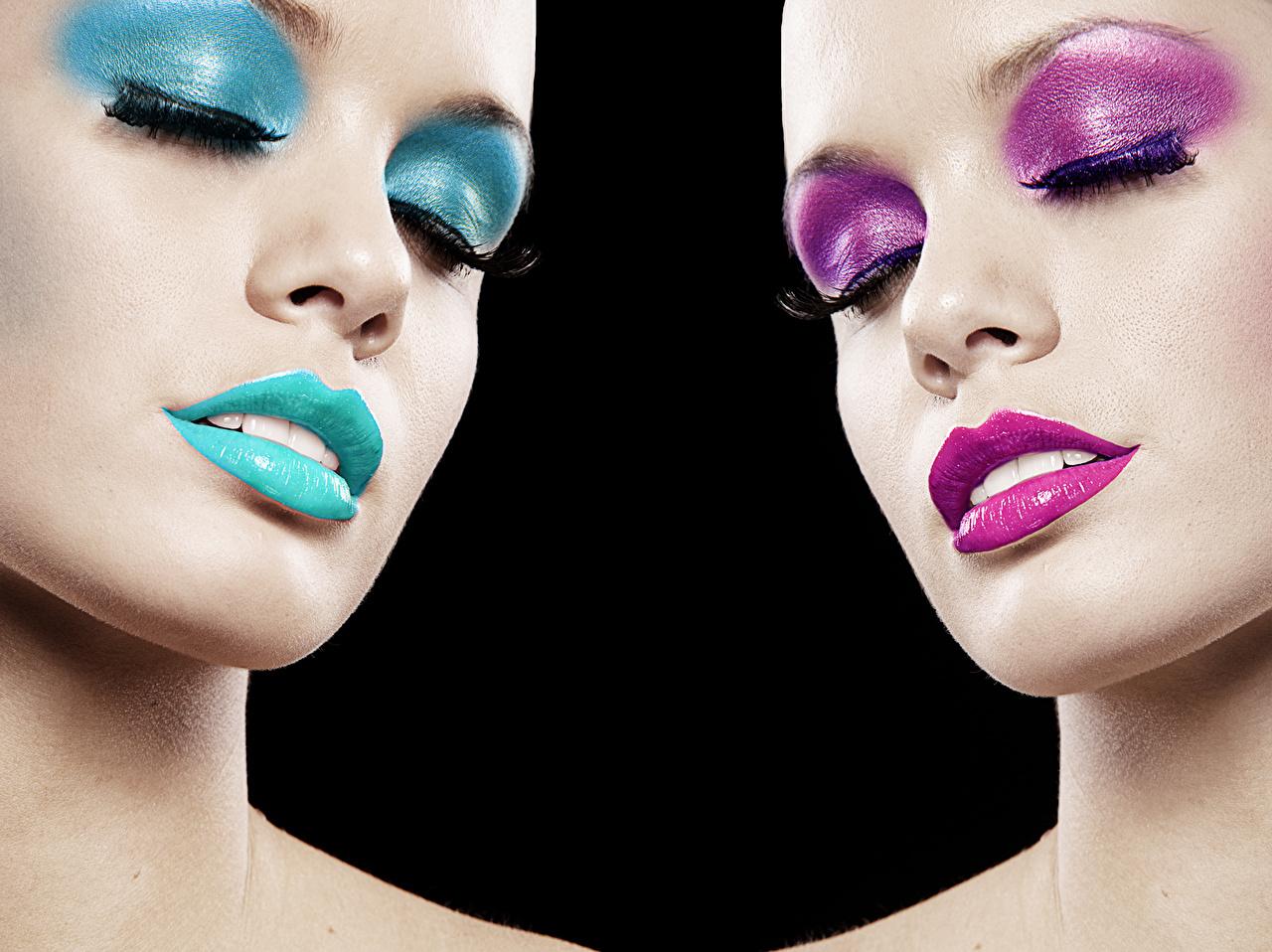 Картинки Макияж Нос Лицо Девушки Губы мейкап