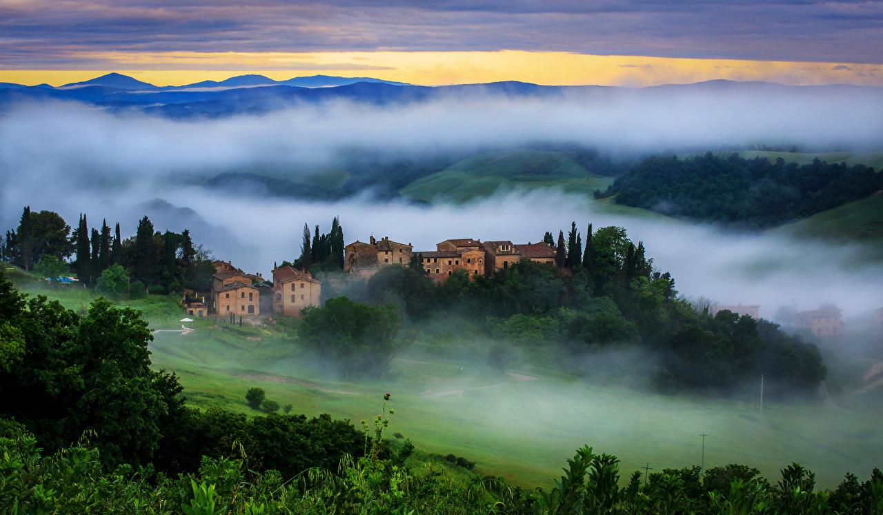 Картинки Италия Vergelle Toscana Туман Природа Сверху тумане тумана