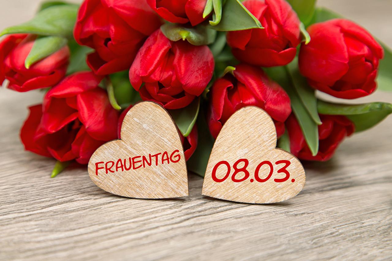 Картинка Международный женский день Сердце Немецкий Красный Тюльпаны Цветы Доски 8 марта сердечко