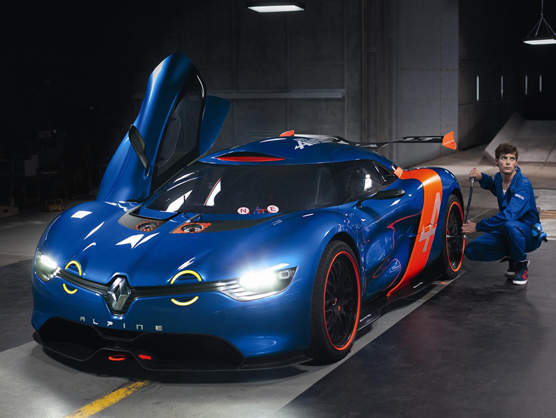 Картинки Рено Alpine A110-50 Concept синие Автомобили Renault синих Синий синяя авто машина машины автомобиль