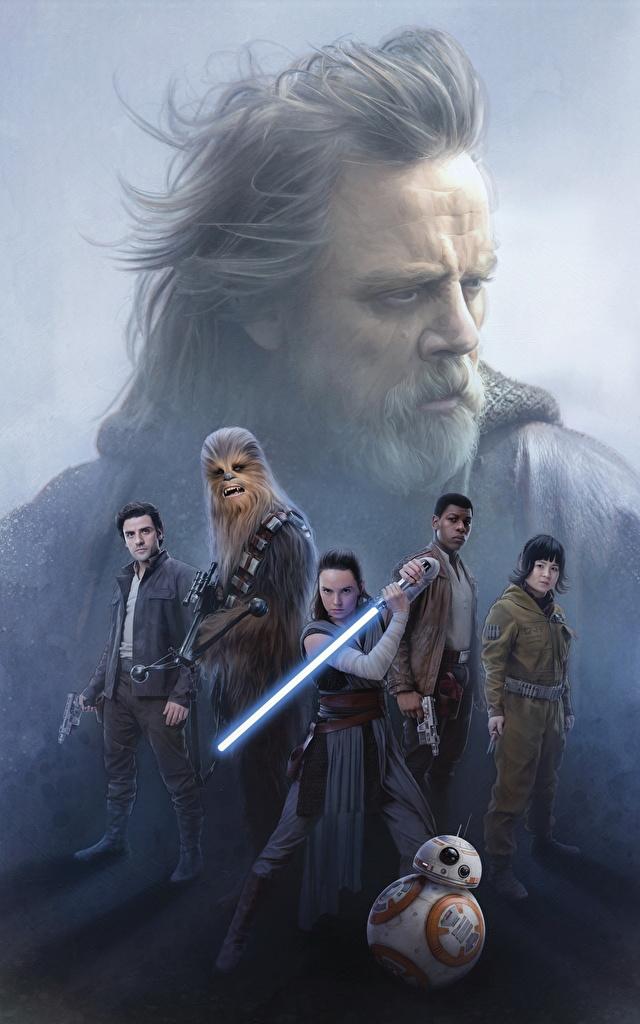 Обои Звёздные войны: Последние джедаи Дэйзи Ридли Мечи Воители Rey, Finn, John Boyega, Poe Dameron, Oscar Isaac, ВВ-8, Chewbacca, Luke Skywalker, Mark Hamill Кино воины Фильмы