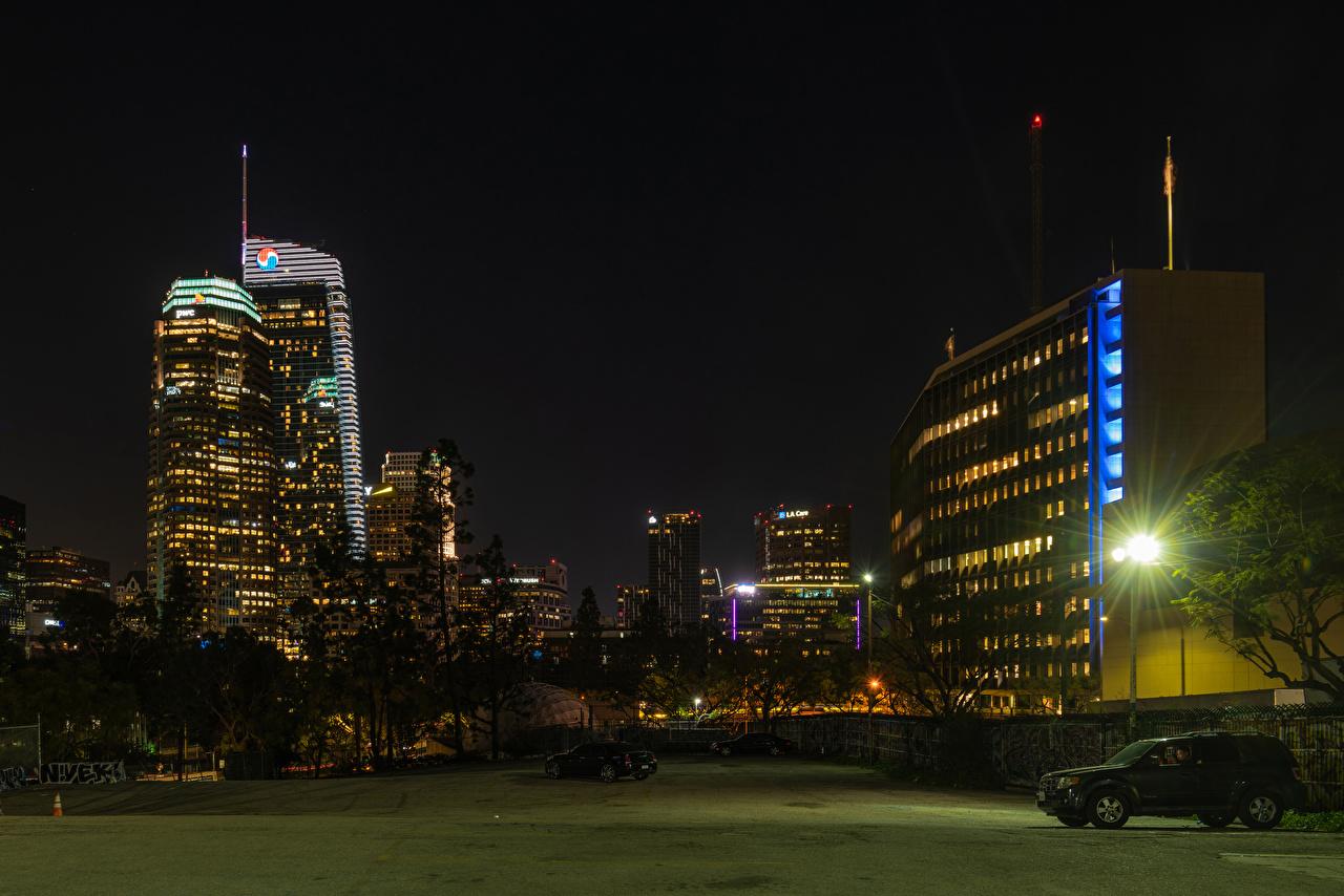 Фотография Лос-Анджелес США ночью Уличные фонари Дома город штаты америка Ночь в ночи Ночные Здания Города