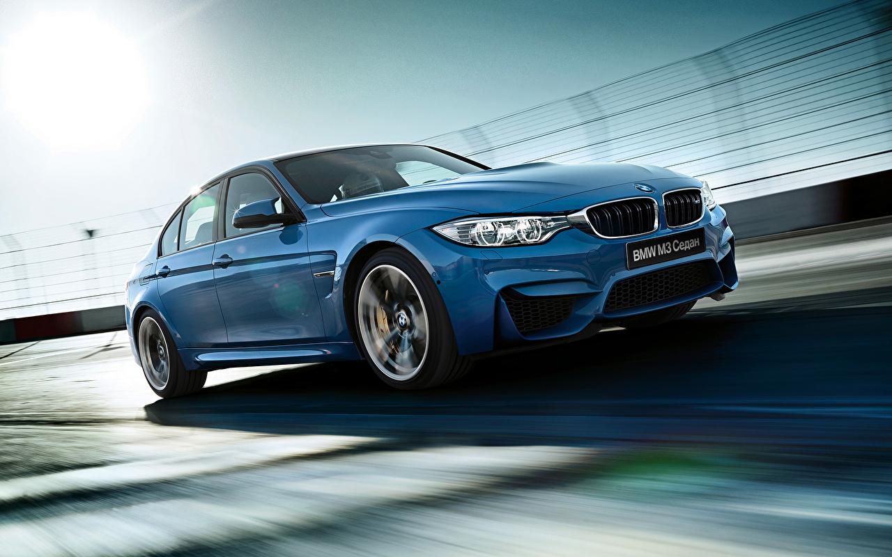 Фото БМВ 2015 M3 F80 синих фар авто BMW синяя синие Синий Фары машины машина Автомобили автомобиль