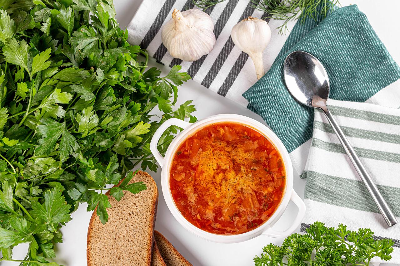 Картинка parsley Борщ Хлеб Чеснок Еда Супы Овощи Ложка Пища ложки Продукты питания