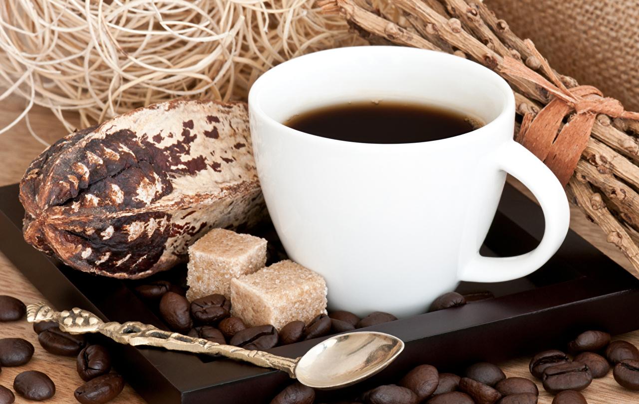Фото Кофе сахара зерно Пища Ложка Чашка Сахар Зерна Еда ложки чашке Продукты питания
