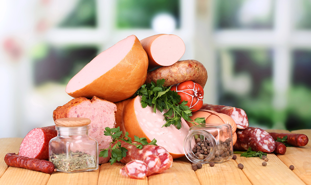 Картинка Колбаса Банка приправы Продукты питания Мясные продукты Еда Пища Специи пряности