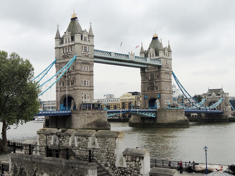 Картинки Лондон Англия Tower Bridge, Thames Мосты Реки Города лондоне речка