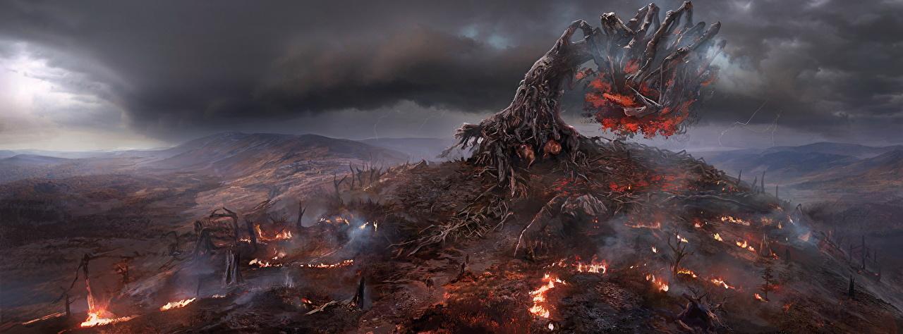Фотография Ведьмак 3: Дикая Охота Demonic Tree Тучи Фэнтези Игры Пламя Деревья The Witcher 3: Wild Hunt Фантастика Огонь