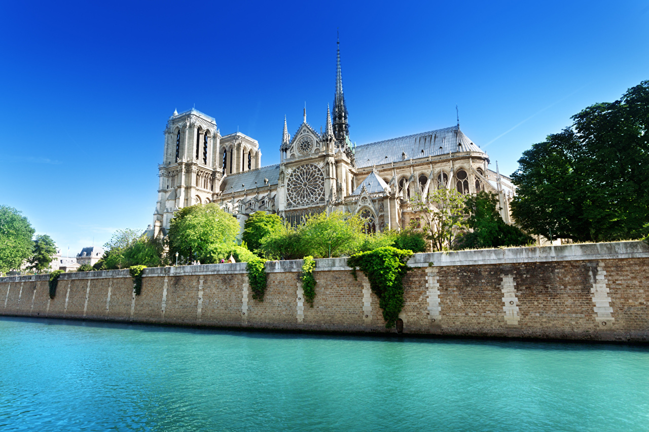 Картинки Париж Собор Франция Seine, Notre-Dame de Paris Реки Города париже река речка город