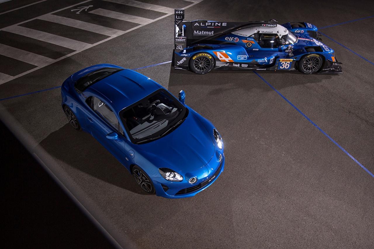 Обои для рабочего стола Renault Alpine две Синий машины Рено 2 два Двое синих синие синяя вдвоем авто машина автомобиль Автомобили