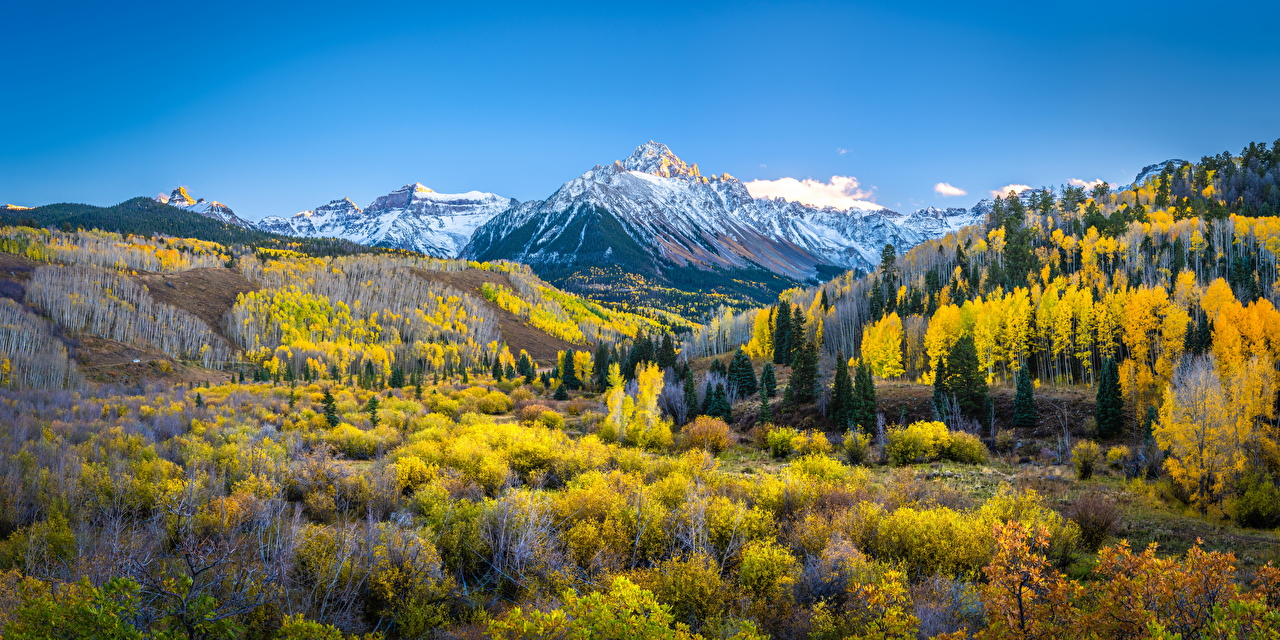 Фото америка Панорама Mount Sneffels Горы осенние Природа Пейзаж США штаты панорамная гора Осень