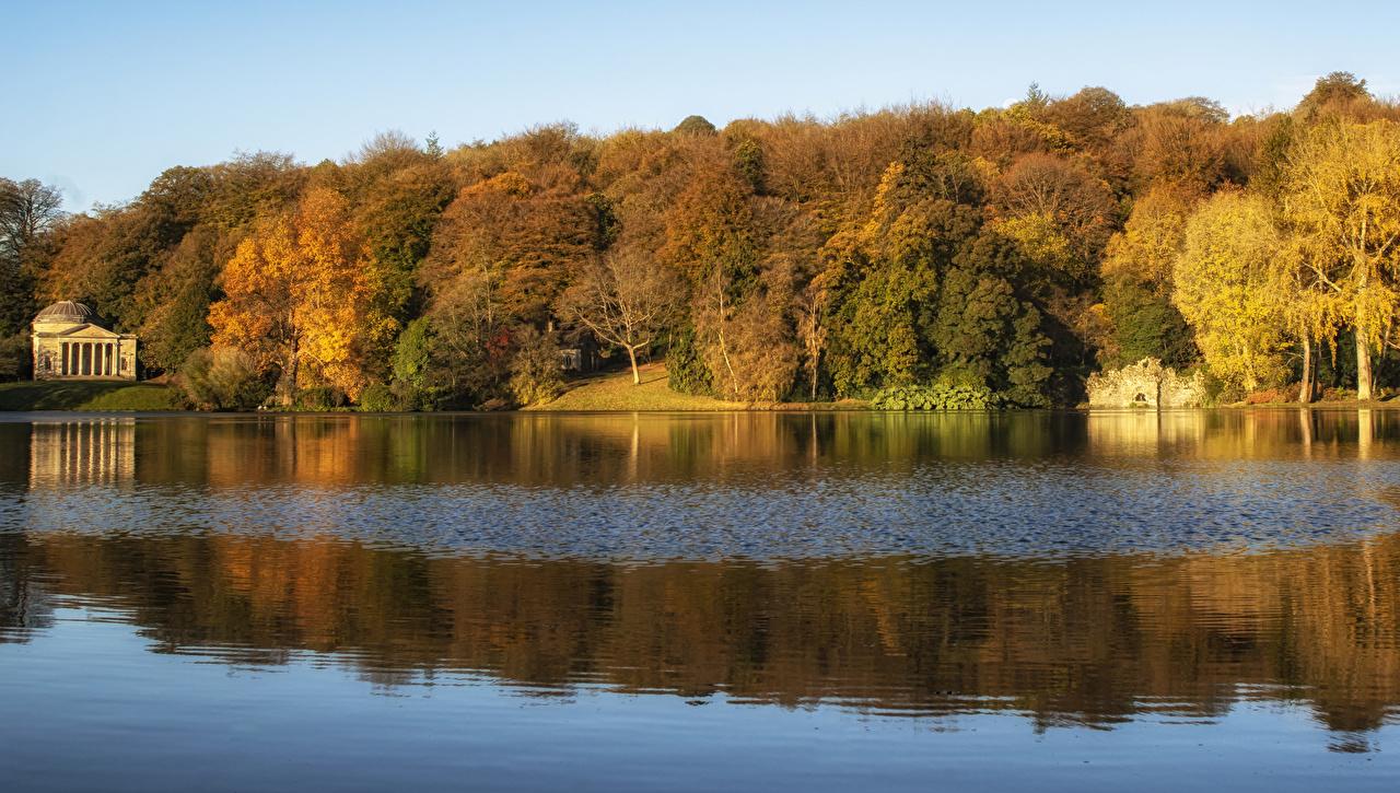 Картинка Англия Wiltshire Природа осенние Леса Реки Осень лес река речка