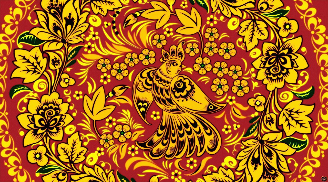 Фотографии птица Текстура Русские Khokhloma Цветы Птицы российские цветок