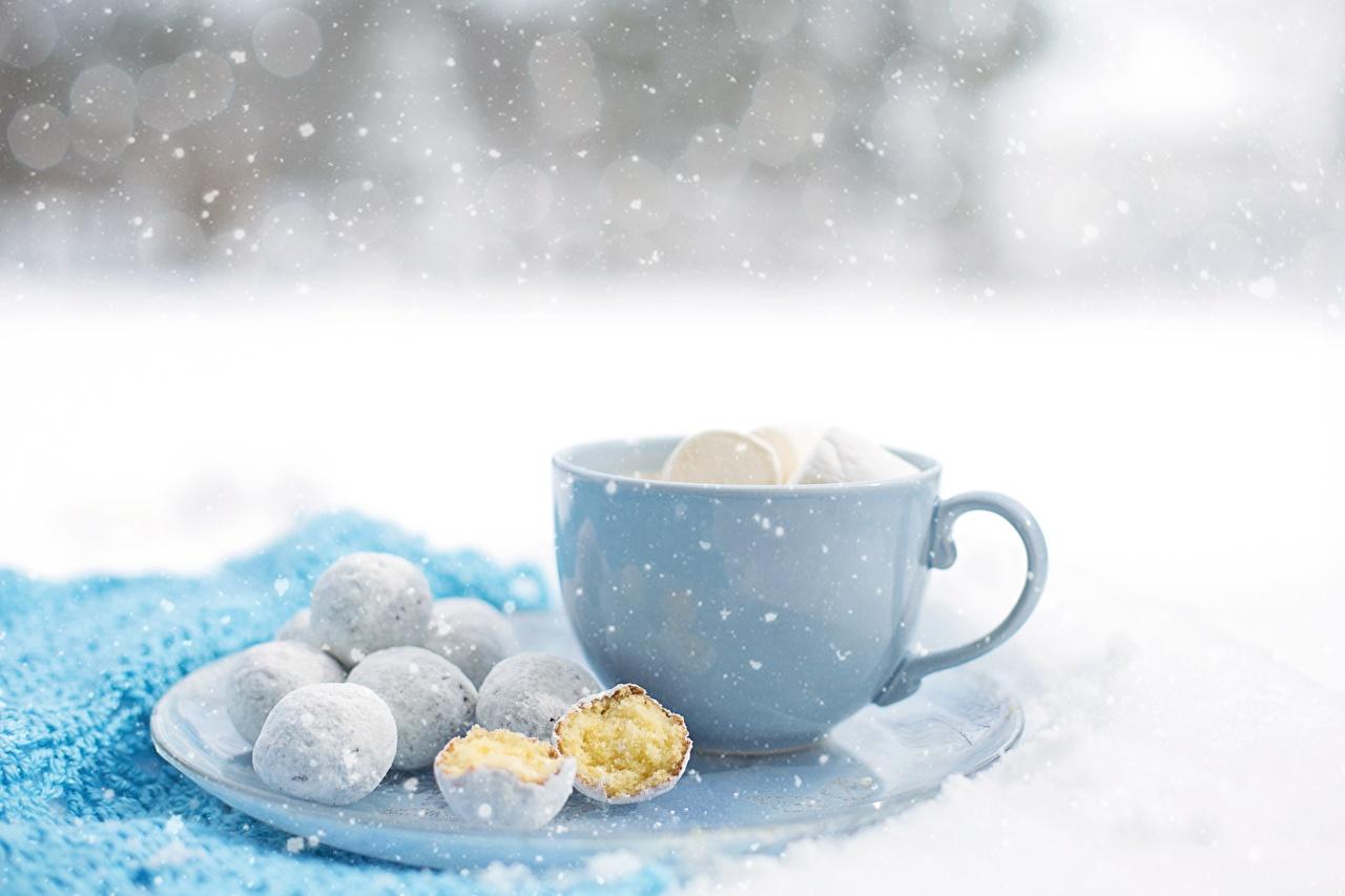 Картинка снежинка Еда чашке Печенье Снежинки Пища Чашка Продукты питания