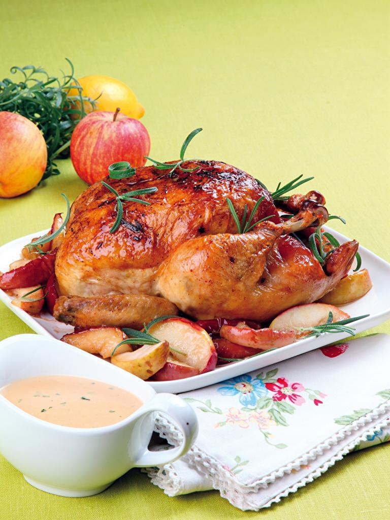 Фото Яблоки Курица запеченная Еда Пища Продукты питания