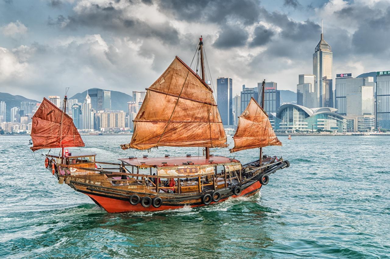 Фотография Гонконг Китай Kowloon Victoria Harbor Корабли Парусные корабль