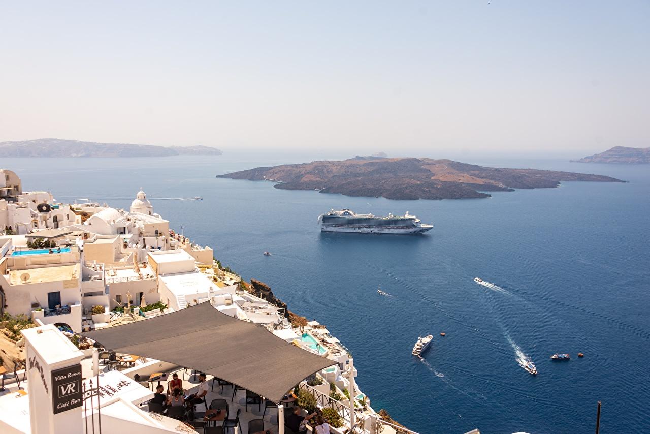 Фотографии Греция Круизный лайнер Santorini, Aegean sea Море Природа Остров Сверху