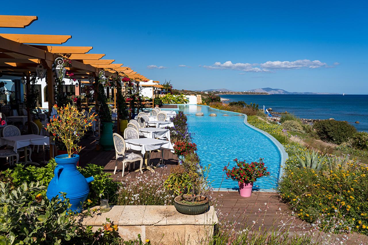 Обои для рабочего стола Греция Бассейны Lachania Море Природа Небо берег Плавательный бассейн Побережье