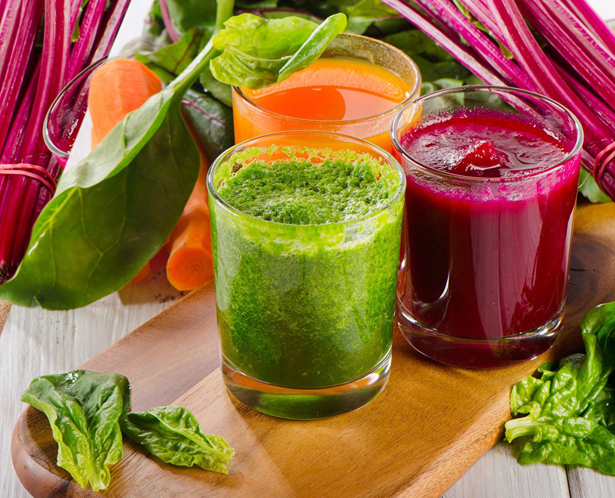 Картинка Овощи стакане Еда три Смузи Стакан стакана Пища Трое 3 втроем Продукты питания