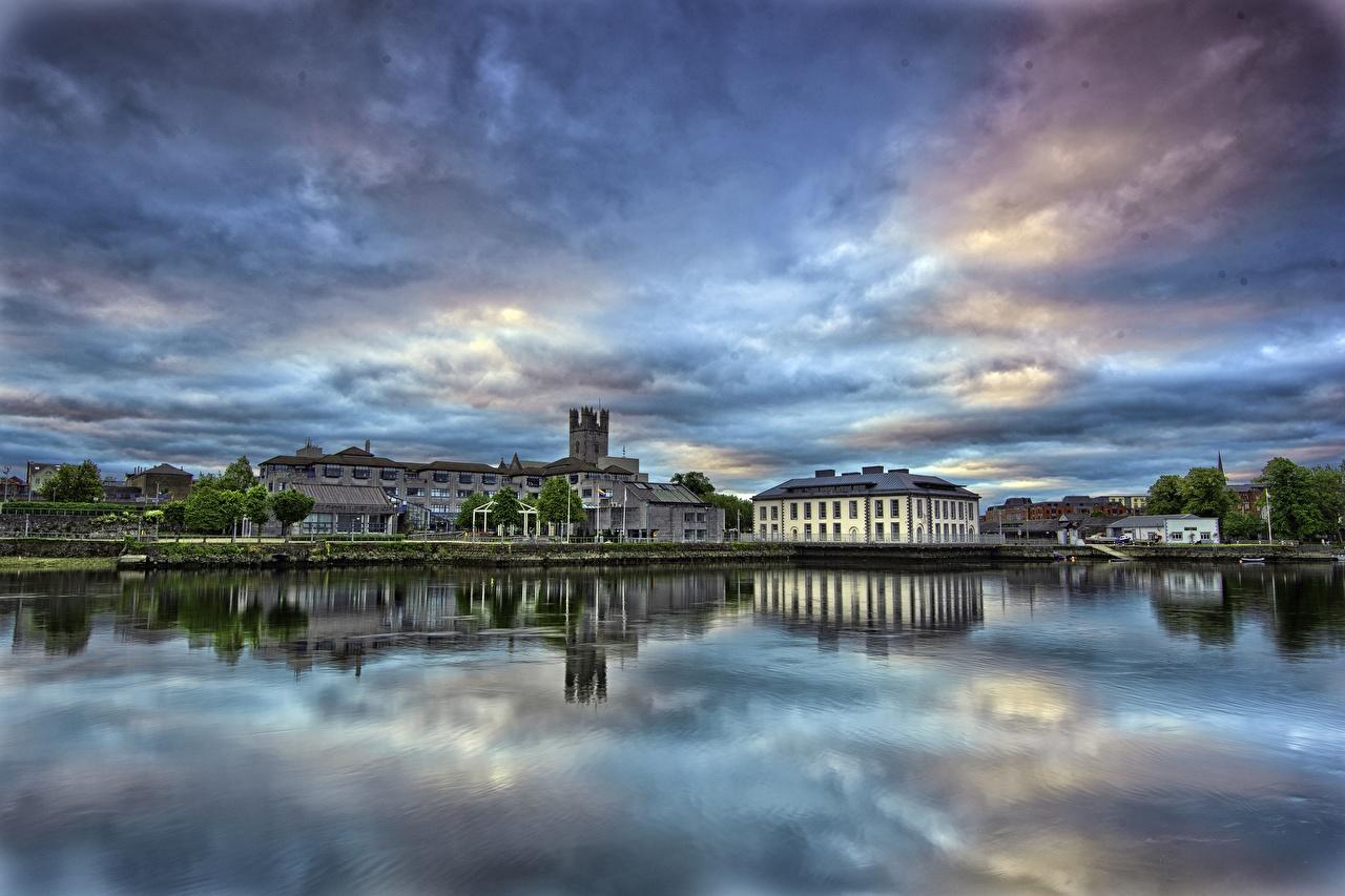 Обои для рабочего стола Ирландия Limerick Небо река Дома город Реки речка Здания Города