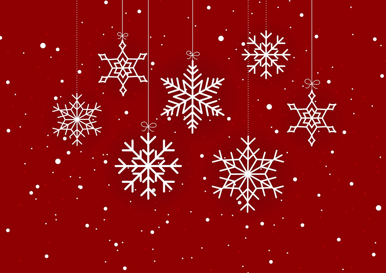 Фото Новый год Снежинки Красный фон