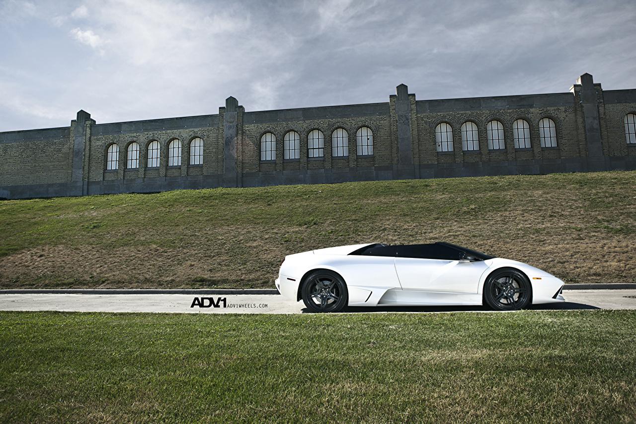 Фото Ламборгини LP640 Roadster murcielago Deep Concave Wheels Родстер Роскошные Белый Сбоку Автомобили Lamborghini дорогие дорогой дорогая люксовые роскошная роскошный белых белые белая авто машина машины автомобиль
