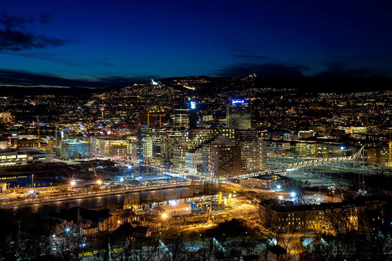 Картинка Норвегия Мегаполис Oslo Ночные Города Здания Ночь Дома