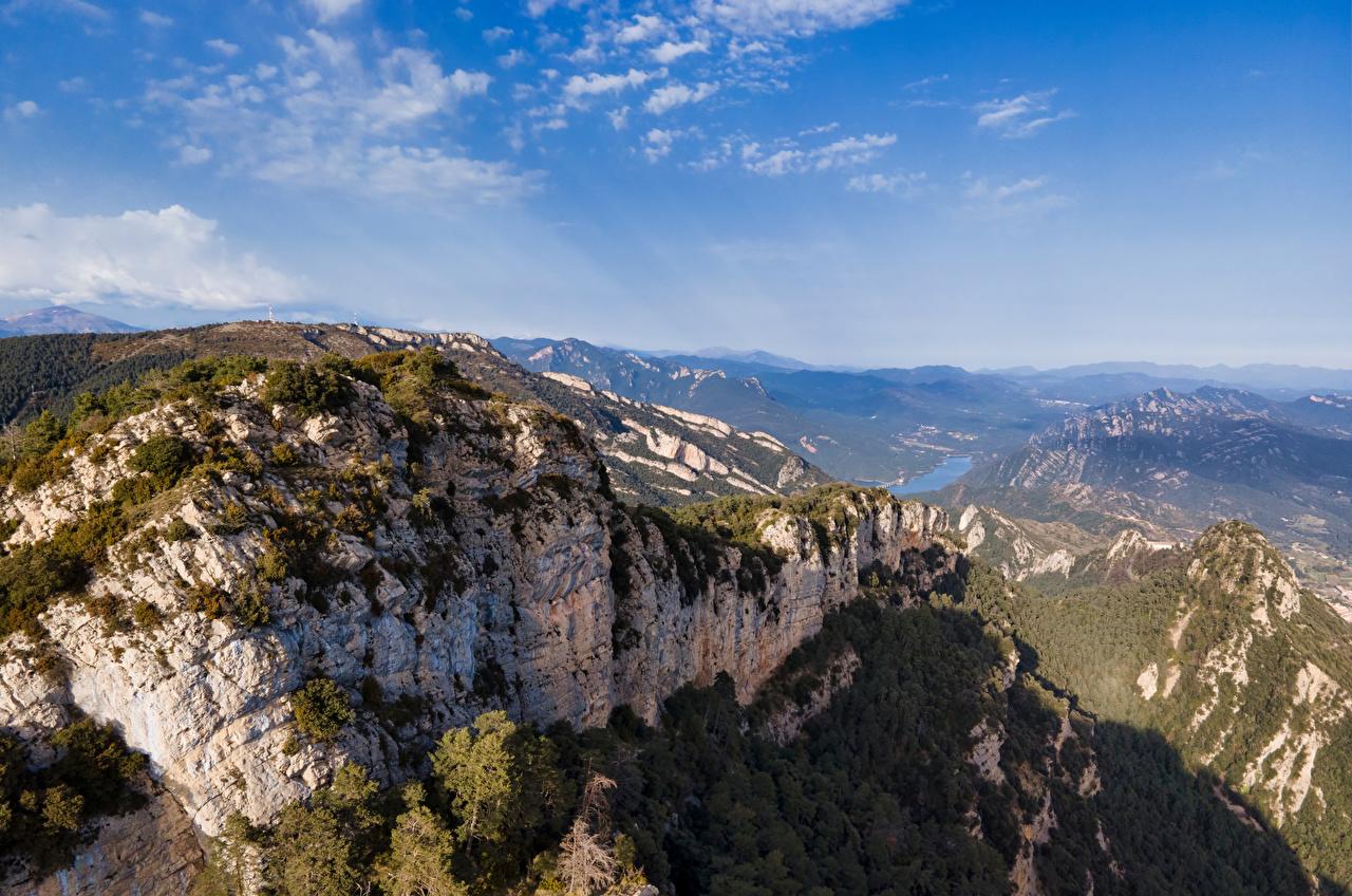 Фотография Испания Catalonia гора Скала Природа Небо Горы Утес скале скалы