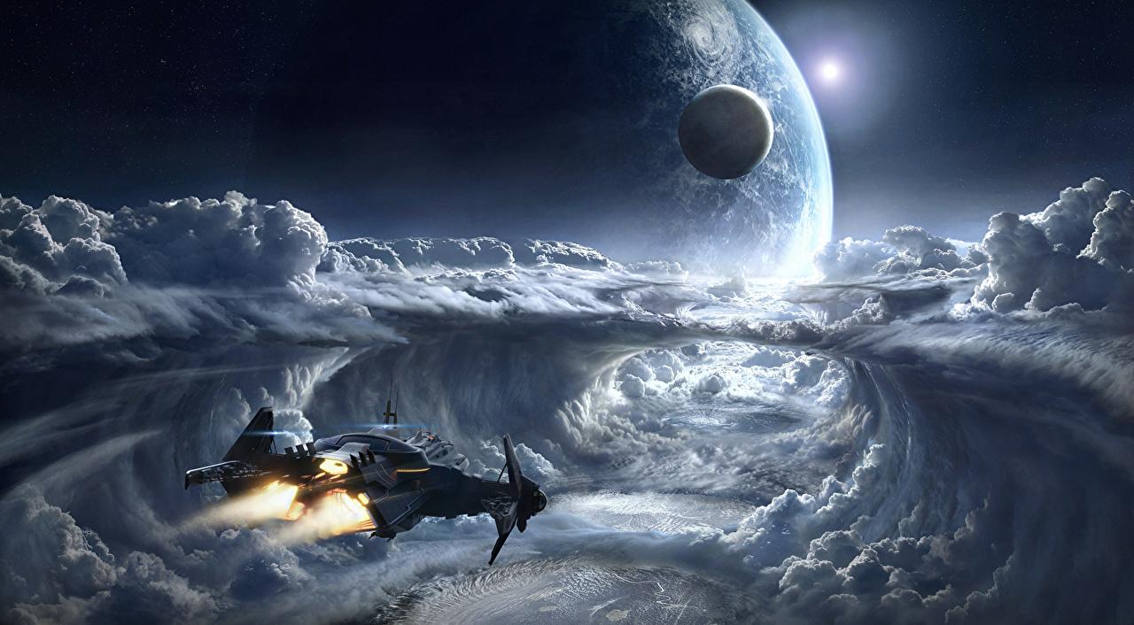 Картинки Star Citizen Планеты Космос Фэнтези Игры корабль Облака планета Фантастика Корабли компьютерная игра облако облачно
