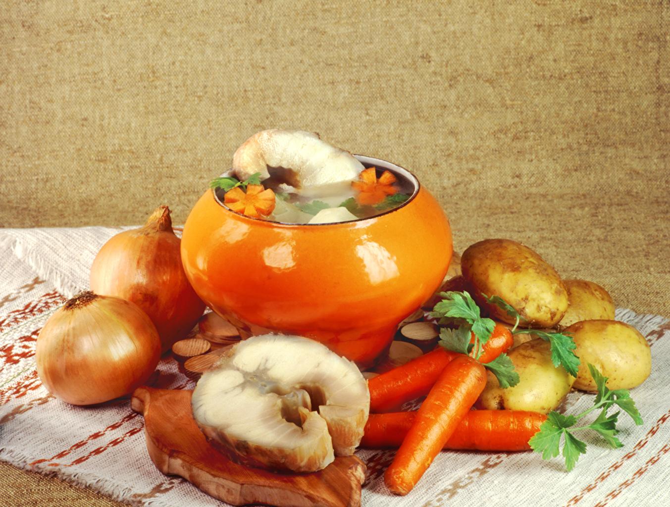 Фотографии Морковь картошка Лук репчатый Рыба Пища Овощи Натюрморт Картофель Еда Продукты питания