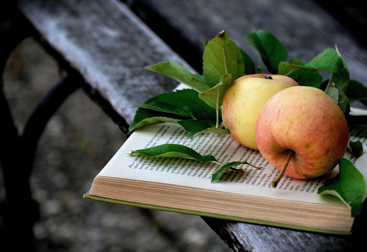 Фотография лист Яблоки Еда книги Доски Листья Листва Пища Книга Продукты питания