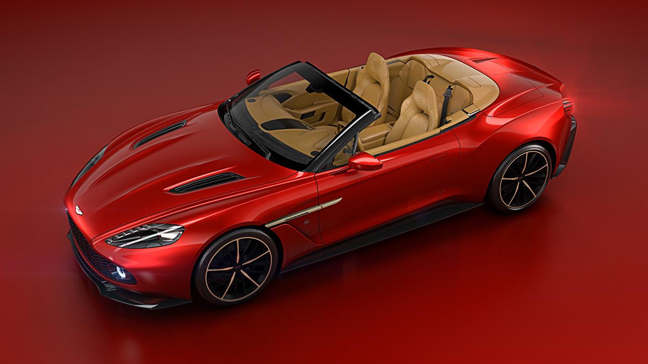 Картинки Астон мартин 2016 Vanquish Zagato Volante Zagato кабриолета Красный Автомобили Красный фон Aston Martin Кабриолет красных красные красная авто машина машины автомобиль красном фоне