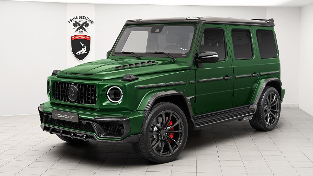 Обои Мерседес бенц G-класс AMG Inferno, TopCar, G63, 2019 зеленые Автомобили Mercedes-Benz Гелентваген зеленых Зеленый зеленая авто машина машины автомобиль