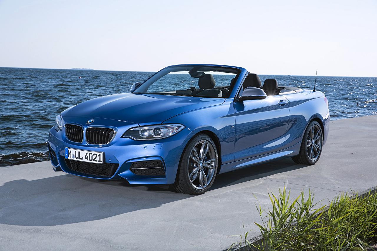 Картинка BMW 2014 M235i F23 convertible кабриолета голубые машины Металлик БМВ Кабриолет голубых Голубой голубая авто машина автомобиль Автомобили