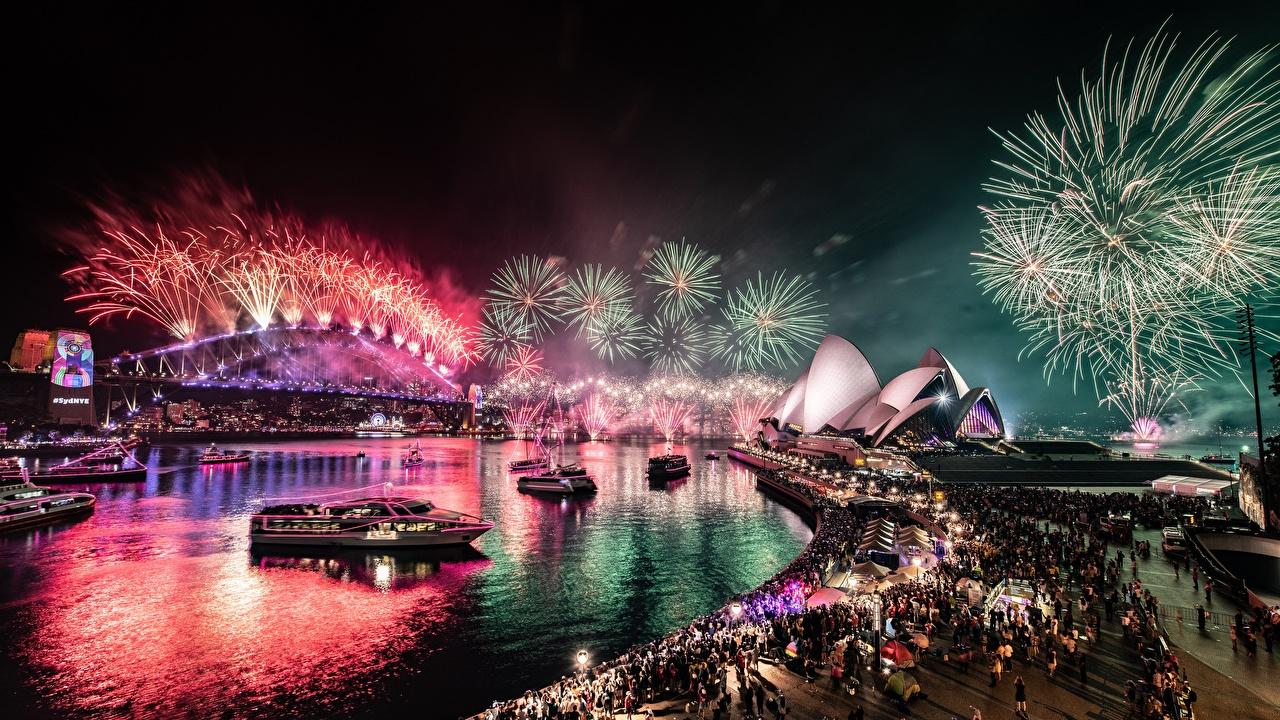 Фотографии Сидней Салют Австралия Мосты Ночь залива Города фейерверк мост Залив ночью в ночи заливы Ночные город