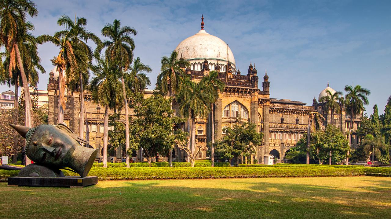 Фотографии Дворец Индия музеи Prince of Wales Museum Mumbai пальм газоне город Скульптуры дворца Музей пальма Пальмы Газон Города скульптура